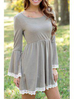 Gray Long Sleeve Lacework Dress - Gray S