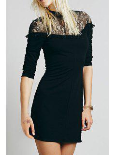 Solid Color Lace Spliced Stand Collar Long Sleeves Dress - Black M