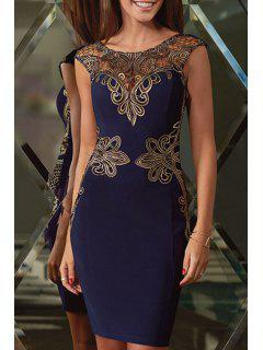 Openwork Lace Appliques Sleeveless Dress - Blue L