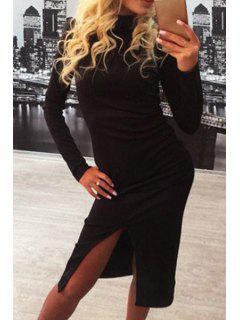 Slit Stand Neck Long Sleeve Bodycon Dress - Black S