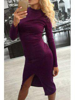 Slit Stand Neck Long Sleeve Bodycon Dress - Wine Red Xl