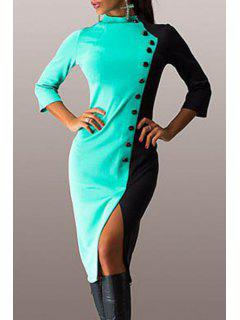 Color Block Stand Neck 3/4 Sleeve Dress - Green M