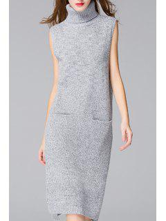 Side Slit Solid Color Pockets Sweater Dress - Gray