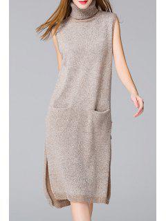 Side Slit Solid Color Pockets Sweater Dress - Apricot