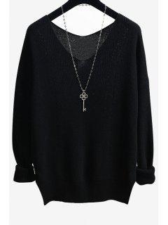 Solid Color Side Slit V-Neck Long Sleeves Sweater - Black