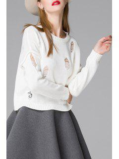 Solid Color Ripped Round Neck Long Sleeves Sweater - White