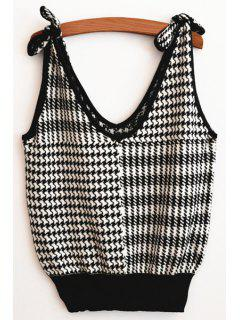 V Neck Sleeveless Tie-Up Sweater - White And Black