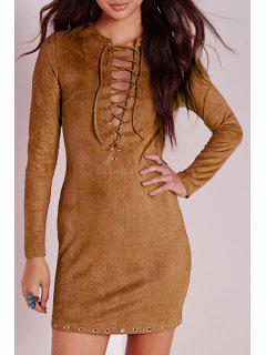 Plunging Neck Long Sleeve Faux Suede Dress - Khaki L