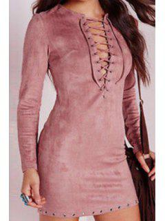 Plunging Neck Long Sleeve Faux Suede Dress - Pink Xl