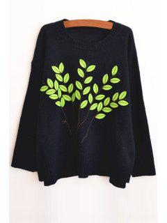 Round Neck Leaf Pattern Sweater - Purplish Blue