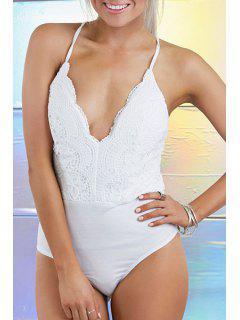 Lace Spliced Cami Bodysuit - White M