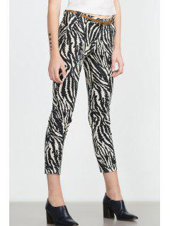 Zebra Striped Print Slimming Narrow Feet Pants - White And Black S