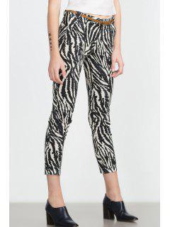 Zebra Striped Print Slimming Narrow Feet Pants - White And Black S
