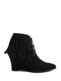 Fringe Suede Wedge Heel Short Boots - Black 37