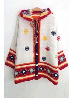 Hooded Snowflake Jacquard Cardigan - White