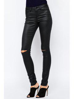 Solid Color High Waisted Casual Ripped Pants - Black Xl