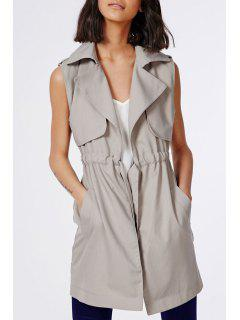 Solid Color Waisted Sleeveless Trench Coat - Khaki L