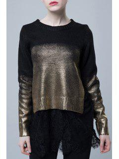 Painted Color Block Lace Spliced Sweater - Black + Gloden