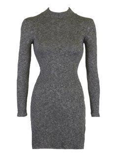 Stand Neck Side Slit Bodycon Dress - Deep Gray S