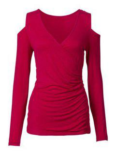Long Sleeve Cut Out Ruched T-Shirt - Red Xl