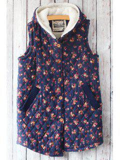 Blue Tiny Floral Hooded Waistcoat - Blue
