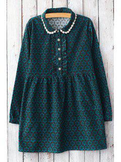 Geometric Print Peter Pan Collar Dress - Green