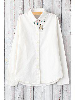 Cat Embroidery Shirt Neck Long Sleeve Shirt - White