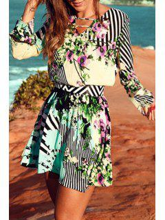 Printed Chiffon V-Neck Long Sleeves Dress - M