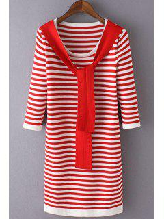 3/4 Sleeve Striped Sweater Dress - Red