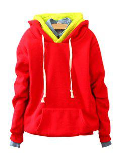 Front Pocket Long Sleeve Pullover Hoodie - Red
