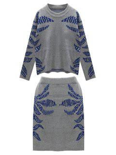 Blue Pattern Long Sleeve Jumper And Skirt Suit - Blue