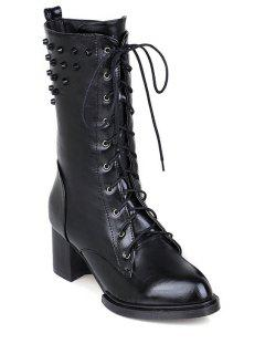 Rivet Solid Color Lace-Up Mid-Calf Boots - Black 37