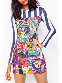 Cartoon Print Mini Round Collar Long Sleeves Dress - 2xl