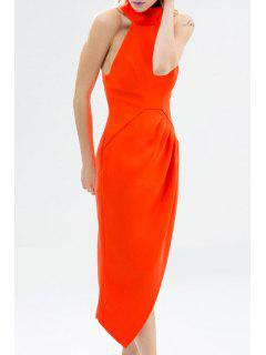 Solid Color Asymmetric Stand Collar Sleeveless Dress - Red Xl