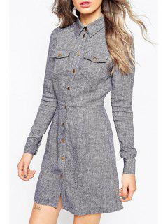Solid Color Buttons Flat Neck Long Sleeves Shirt Dress - Gray S