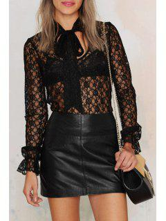 See-Through Cut Out Lace Long Sleeves Blouse - Black Xs