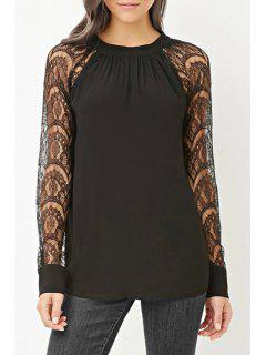 Openwork Lace Hook Spliced Round Collar Blouse - Black S