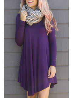 Solid Color Asymmetric Long Sleeves Dress - Purple 2xl