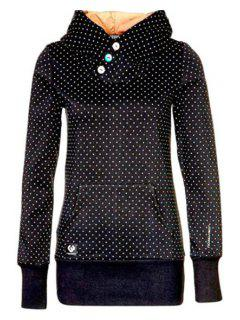 Polka Dot Hooded Neck Long Sleeves Hoodie - Black Xl