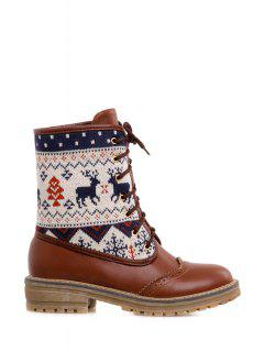 Engraving Knitting Lace-Up Short Boots - Brown 38