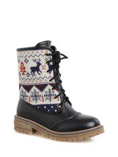 Engraving Knitting Lace-Up Short Boots - Black 39
