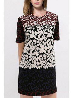 Leaf Print Round Neck Short Sleeve Dress - White And Black S