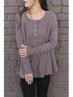Solid Color Round Neck Long Sleeves T-Shirt - Dun Xl