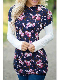 Floral Print Pullover Hoodie - Blue Xl