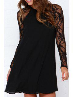 Long Sleeve Lace Patchwork Chiffon Dress - Black L