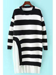 Pleated Chiffon Spliced Long Sleeve Sweater Dress - White And Black