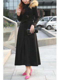 Fur Collar Self-Tie Belt Maxi Coat - Black 2xl