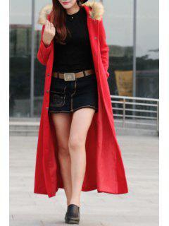 Fur Collar Self-Tie Belt Maxi Coat - Red 2xl