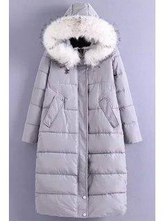Solid Color Hooded Fur Collar Long Sleeves Down Coat - Gray L