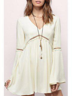 V-Neck Bell Sleeve Hollow Out Dress - White L